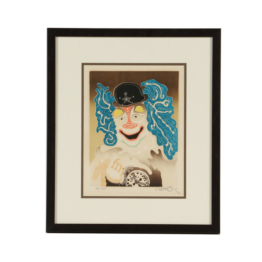 Motoi Oi Limited Edition Color Etching on Paper Abstract Clown