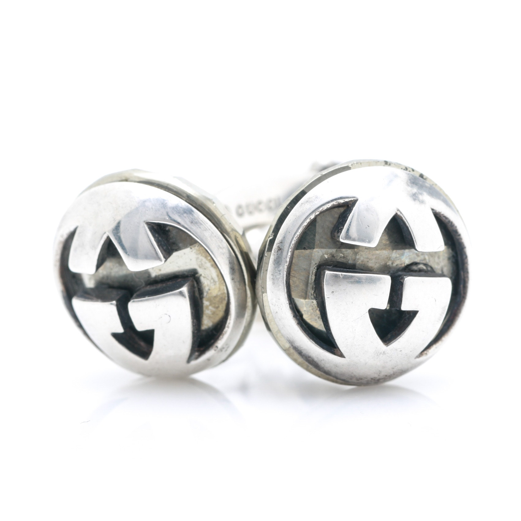 Gucci Sterling Silver and Pyrite Cufflinks