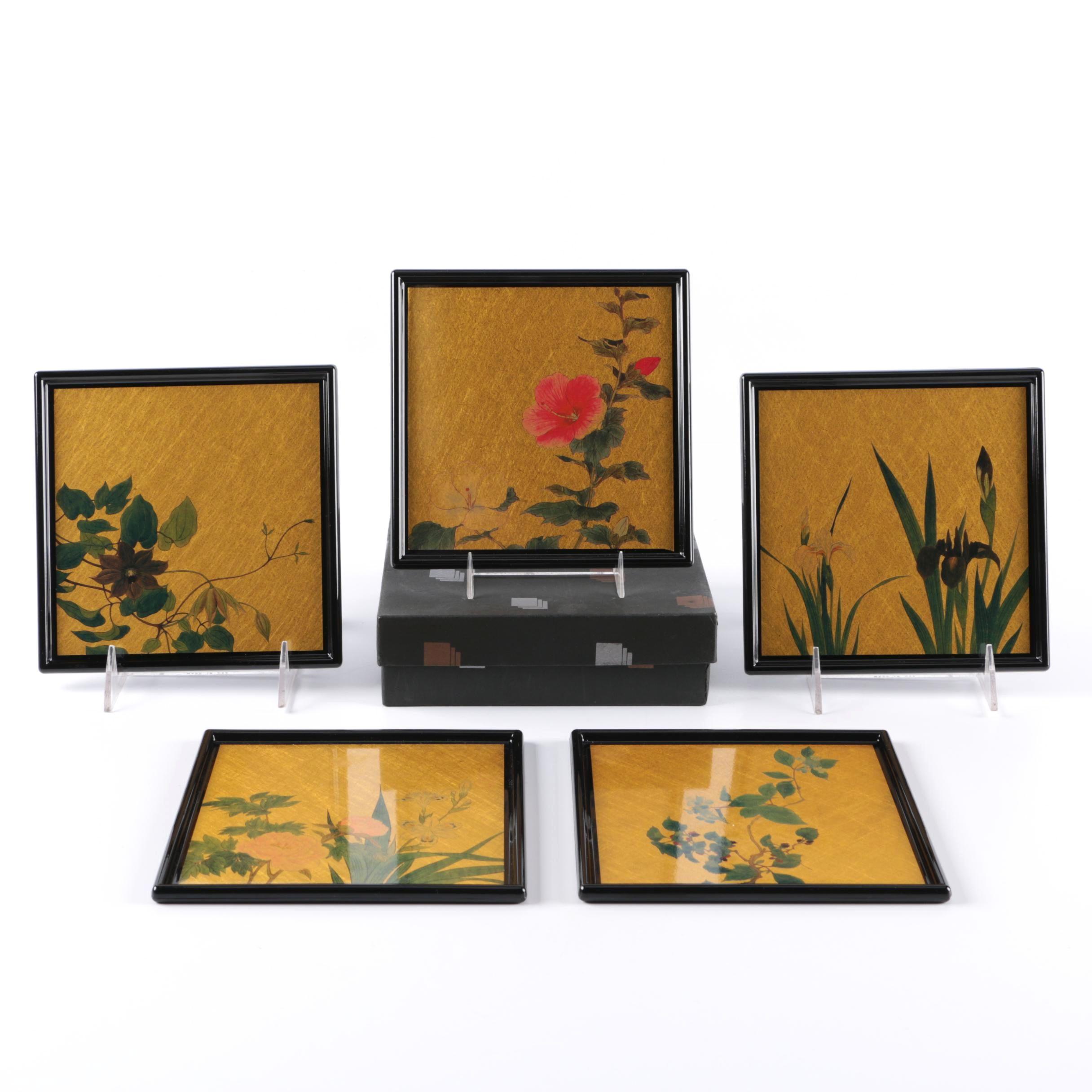 Japanese Hakuichi Original Set of 5 Gold Leaf Square Trays Plates NOS