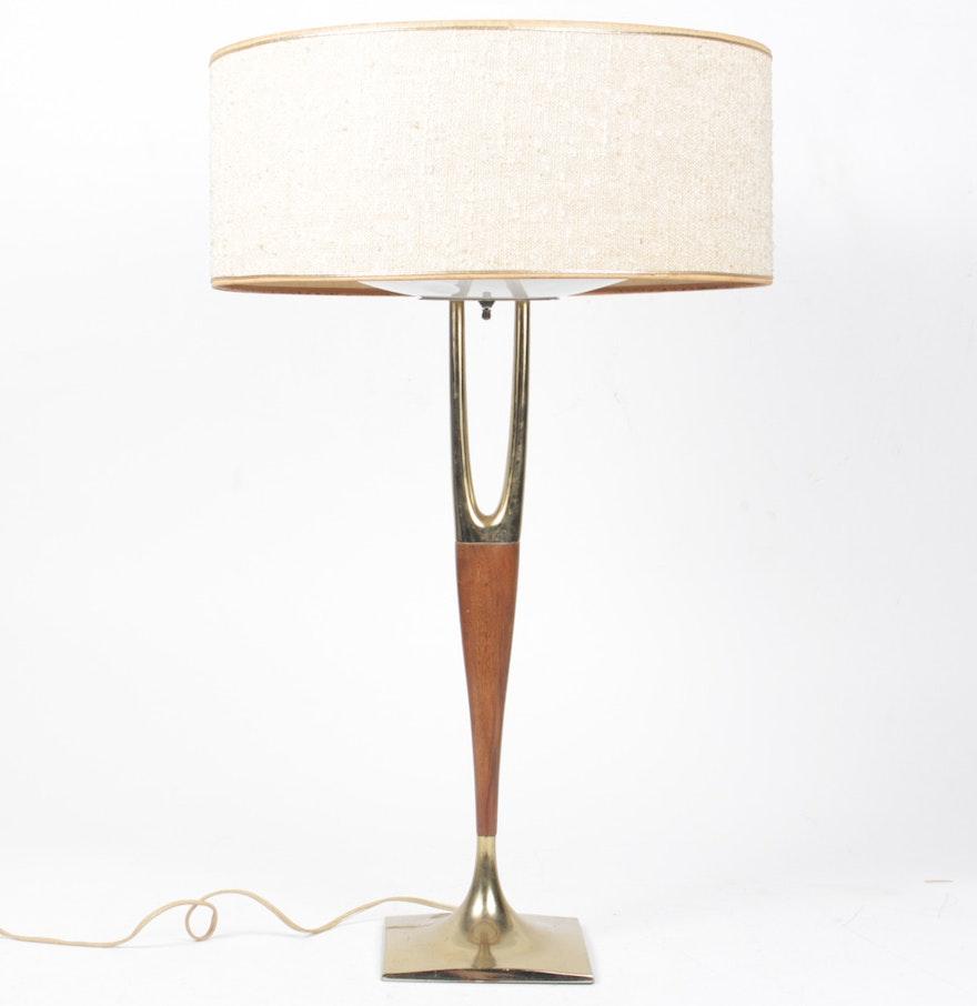 Mid century modern brass table lamps - Mid Century Modern Teak And Brass Table Lamp