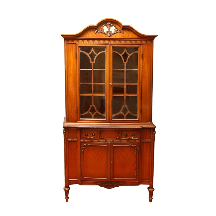 Vintage Louis XVI Style Glazed-Door China Cabinet