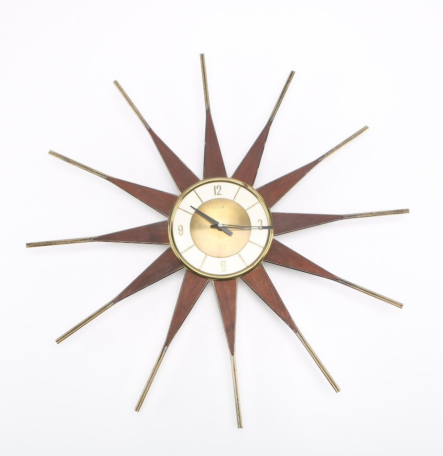 mid century modern starburst wall clock by elgin  ebth - mid century modern starburst wall clock by elgin