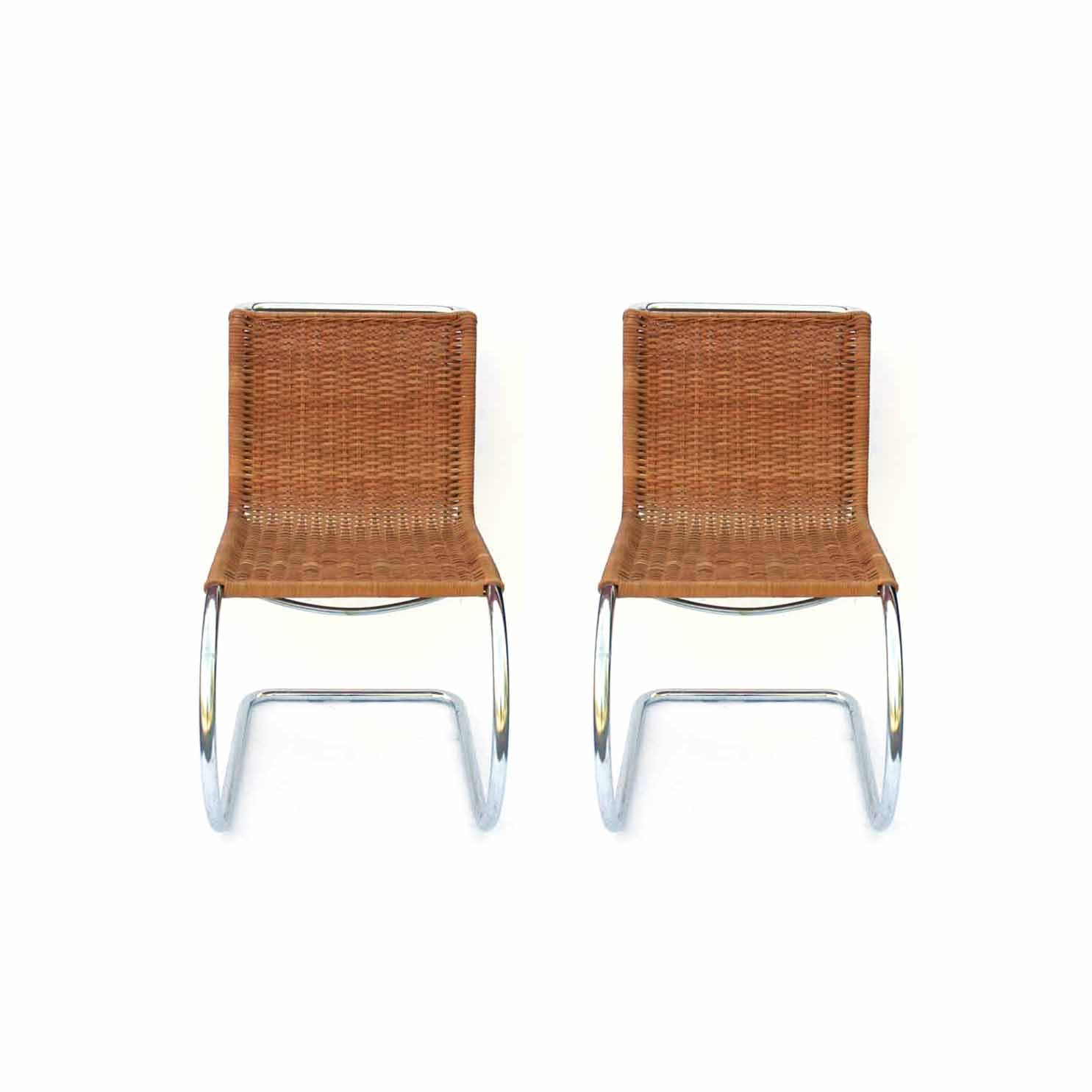 Two Tubular Rattan Chairs