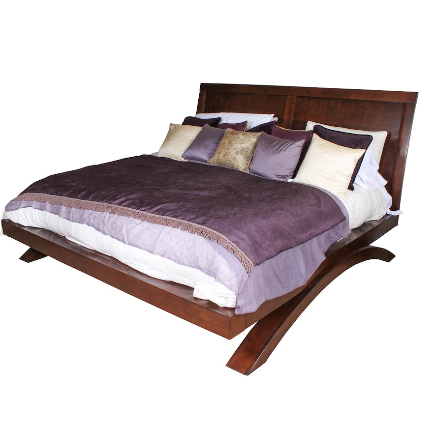 Cherry king size platform bed from grant park collection ebth - Kingsize platform beds ...