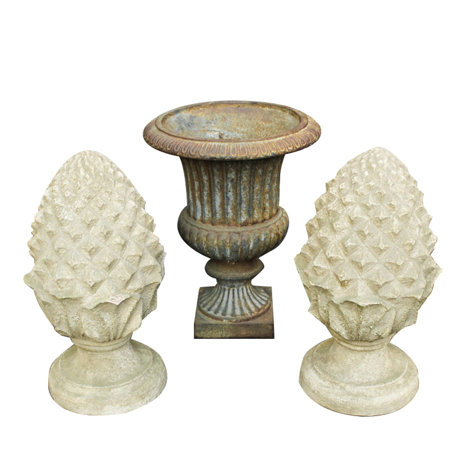 Iron Urn and Plaster Finials