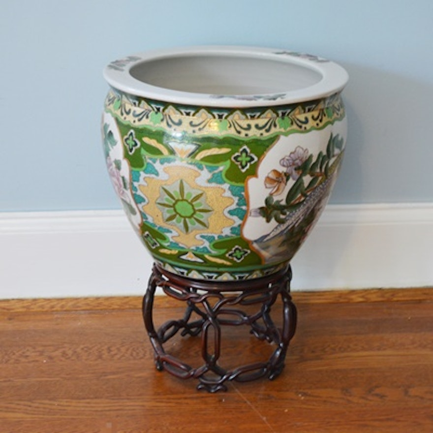 Chinese porcelain fish bowl planter and stand ebth for Fish bowl stand