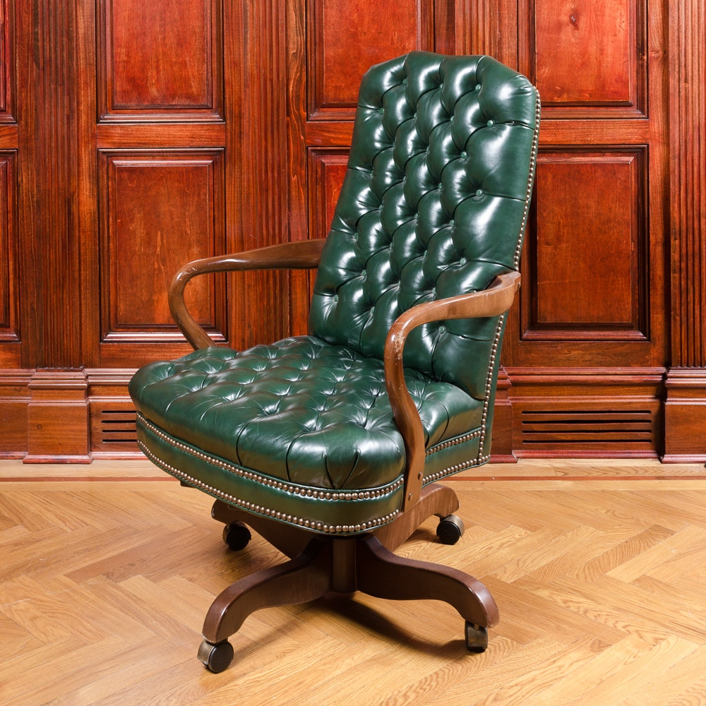 vintage tufted green leather office chair : ebth