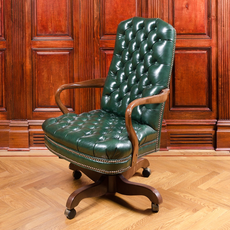 Vintage Tufted Green Leather Office Chair ... - Vintage Tufted Green Leather Office Chair : EBTH