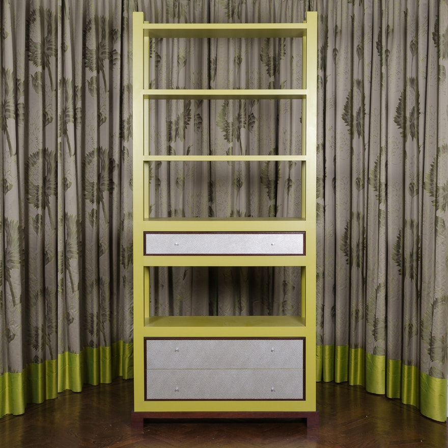 Contemporary Style Lime Green Bookshelf