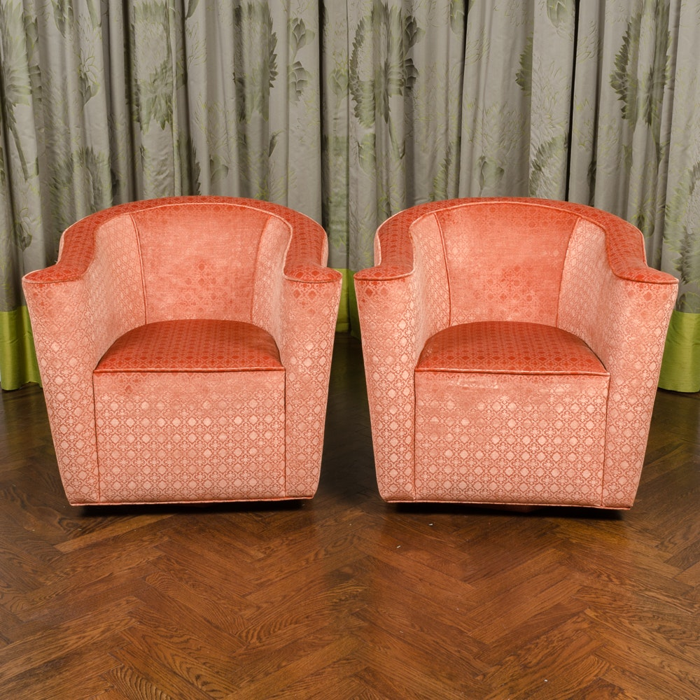Pair Of Custom Made Embossed Coral Velvet Upholstered Chairs ...