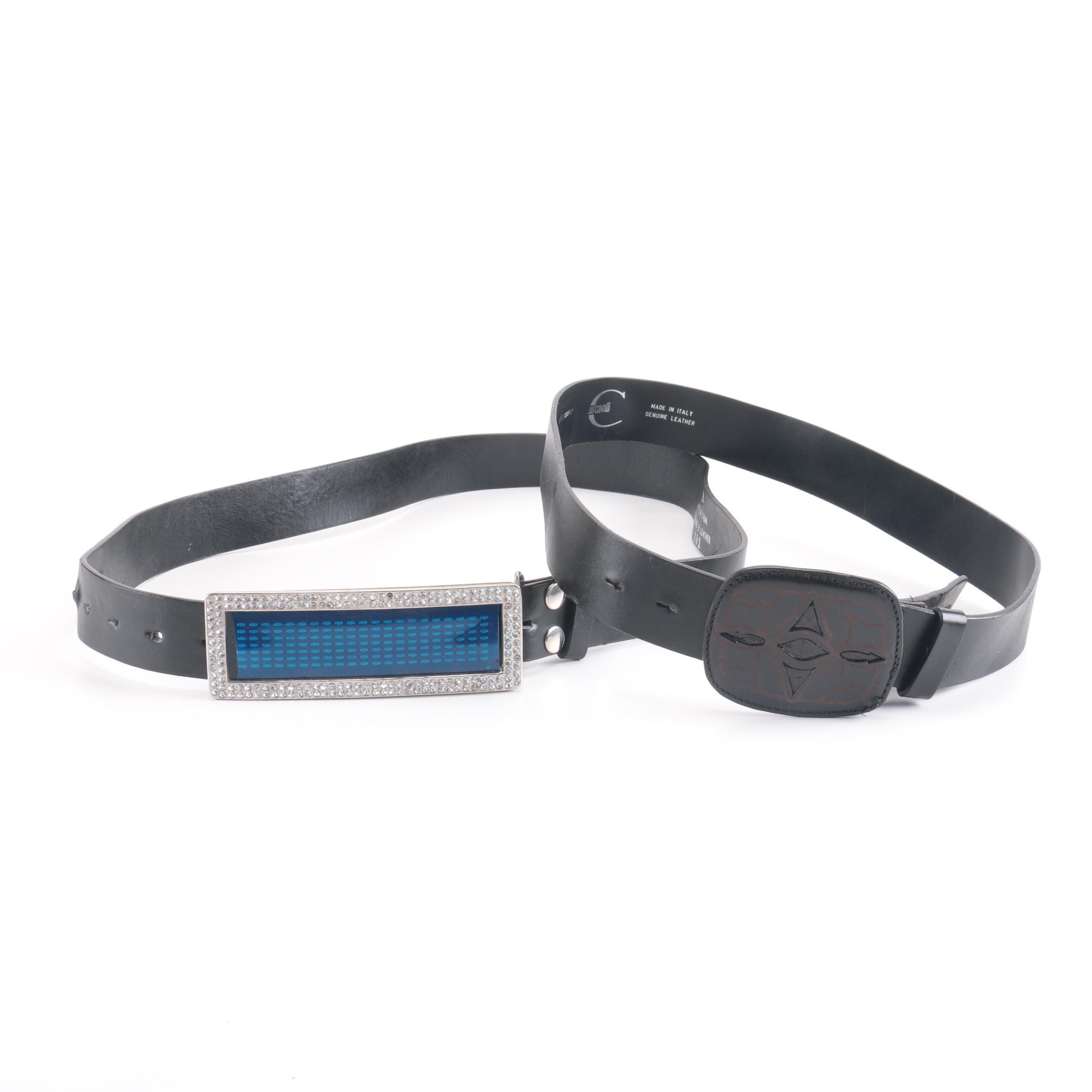 Men's Black Leather Belts Including Just Cavalli