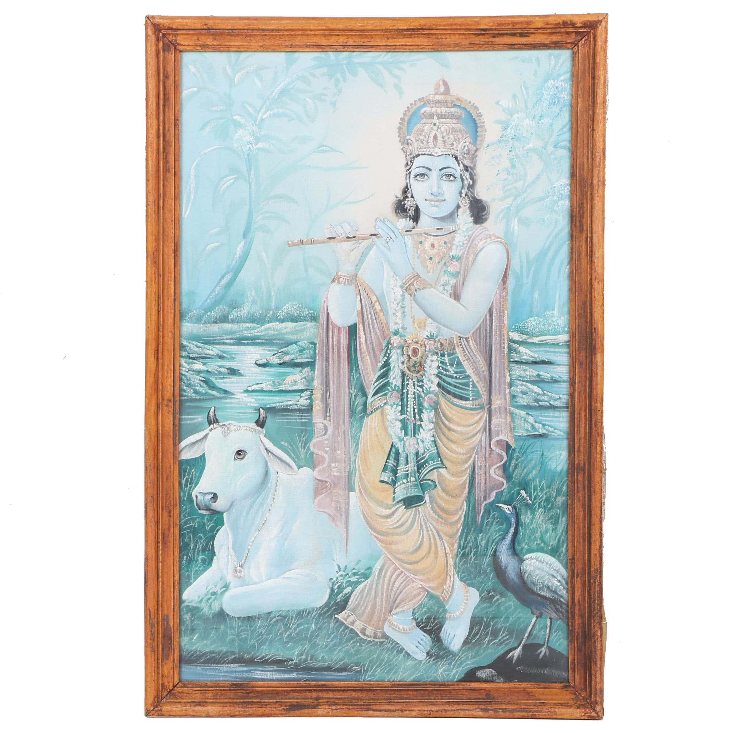 Gouache Painting on Canvas of Krishna