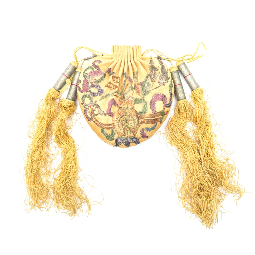 Antique Chinese Embroidered Silk Purse