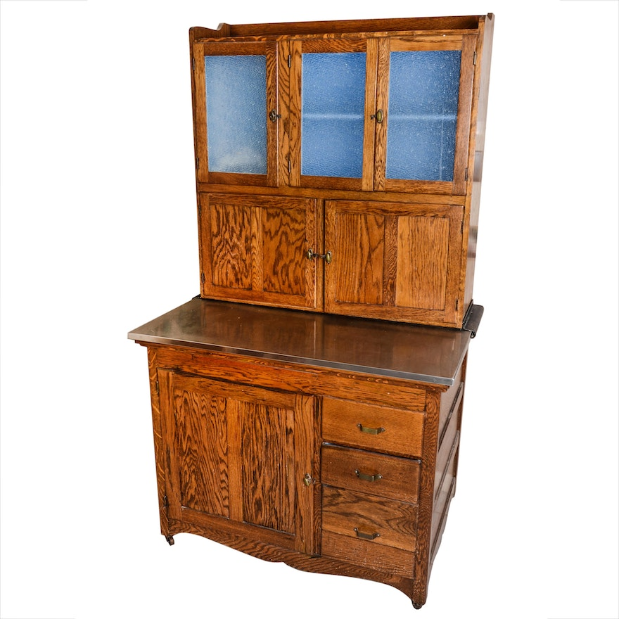 Antique Oak Hoosier Cabinet ... - Antique Oak Hoosier Cabinet : EBTH