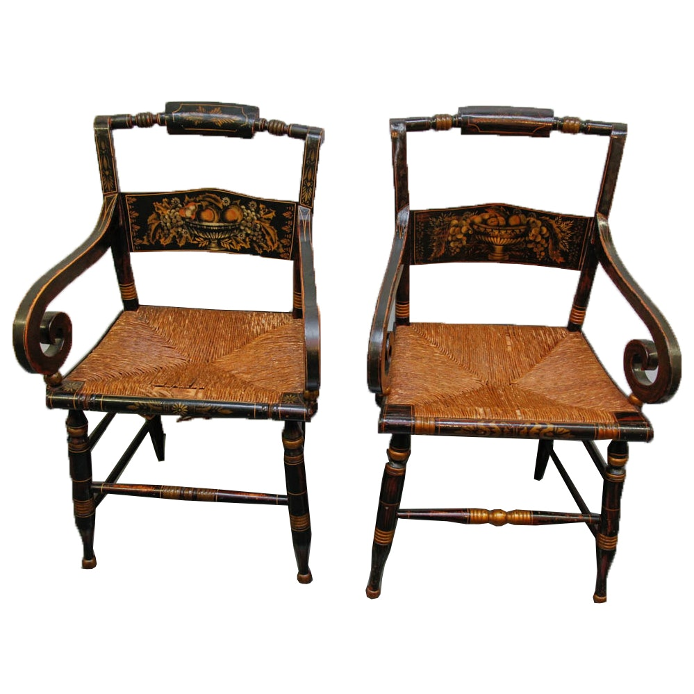 Early American Hitchcock Style Rush Seat Arm Chairs ...