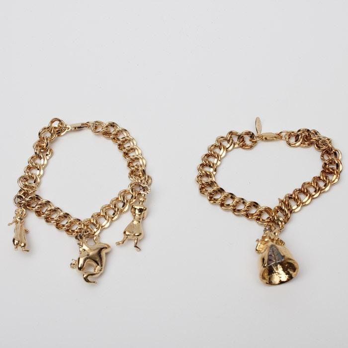 Gold Plate Over Sterling Silver Disney Charm Bracelets Ebth