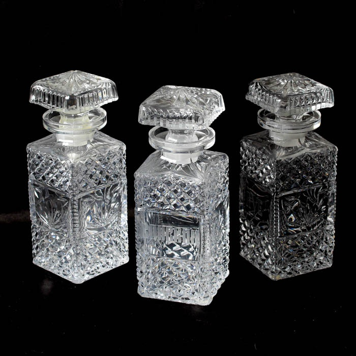 Collection of Vintage Crystal Decanters