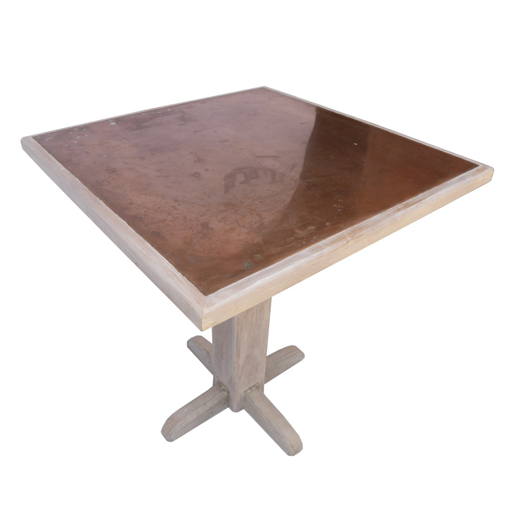 Custom Hand-Crafted Oak Table With Copper Top