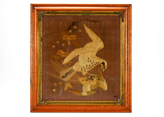Antique Stumpwork of Eagle and Prey