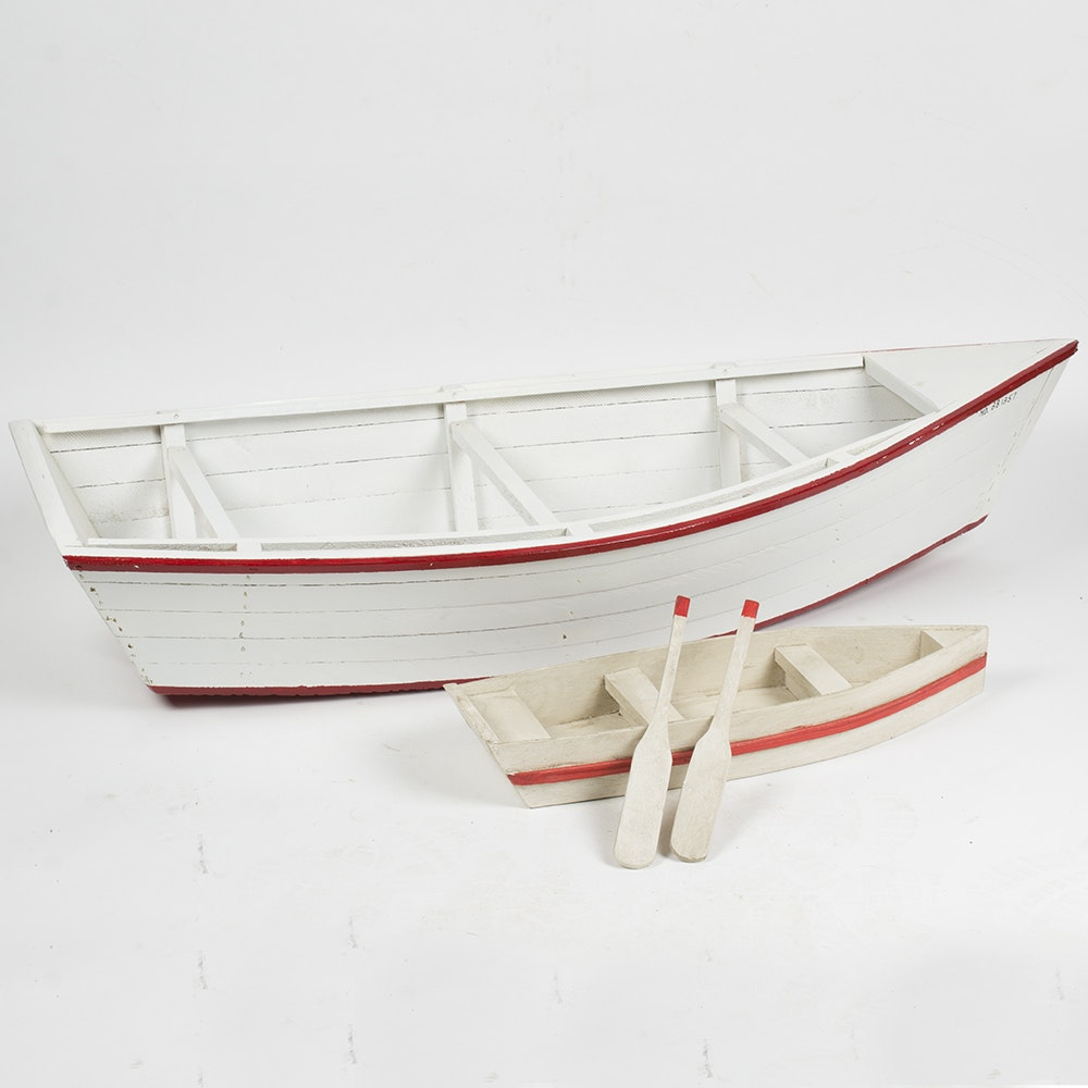 Group of Two Wooden Model Boats