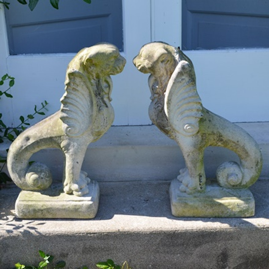 Two Fishtailed Winged Foo Dog Lion Concrete Garden Statues