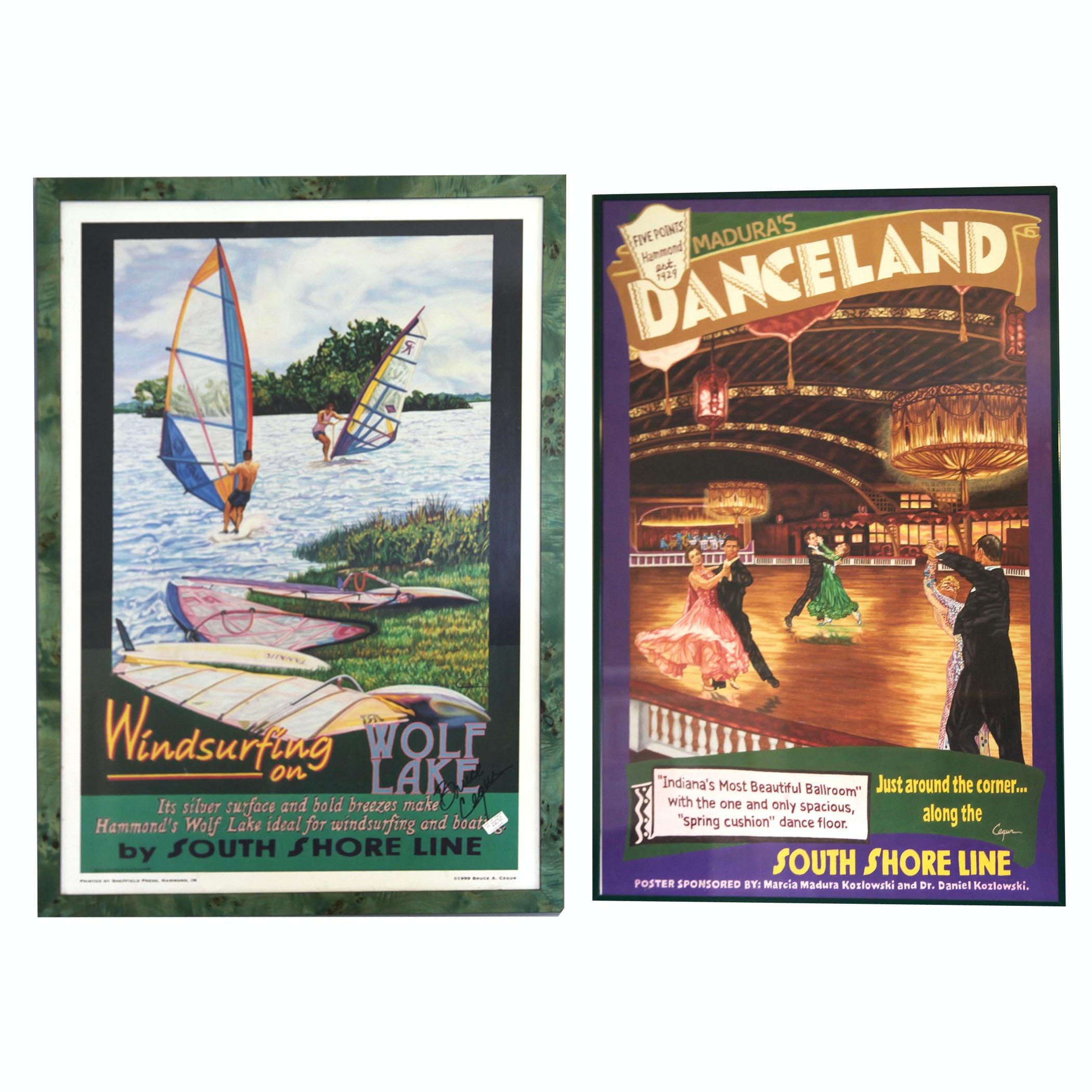 Framed Vintage Bruce Cegur Posters