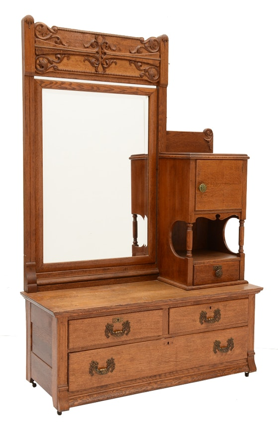Antique Oak Dresser With Mirror And Shaving Stand Ebth