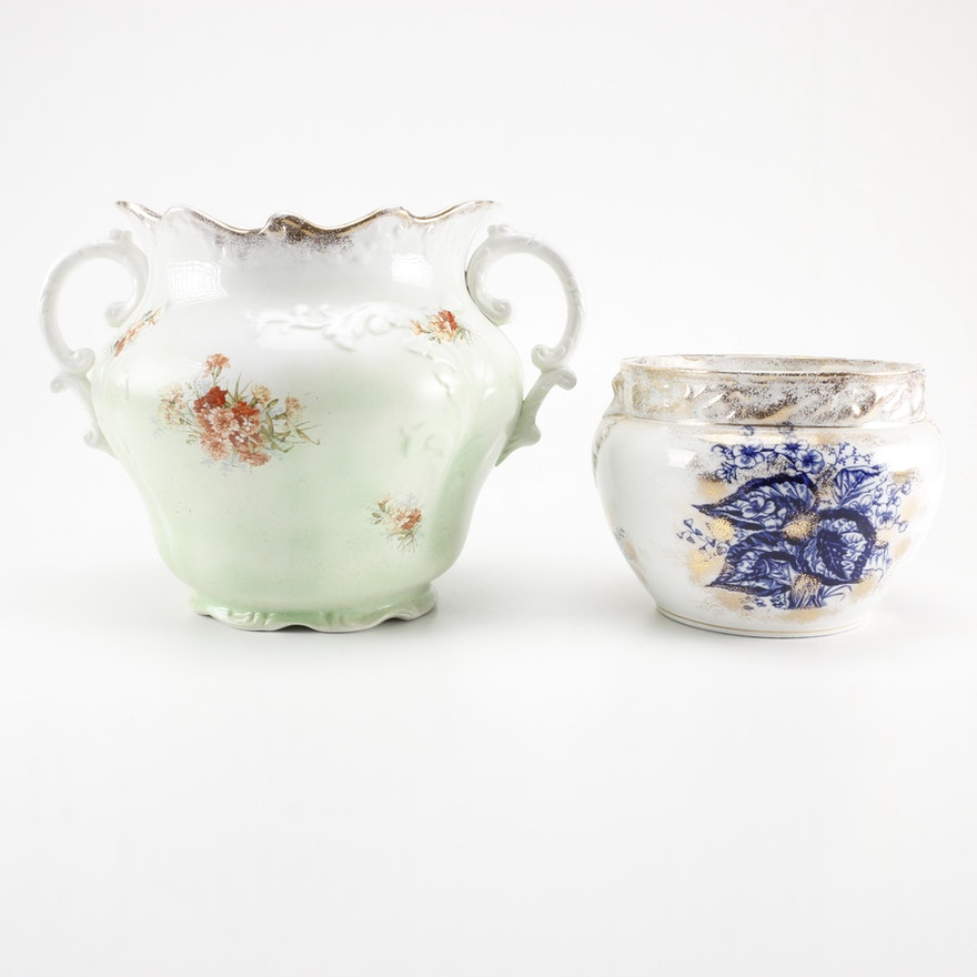 Antique Ceramic Vases Including Warwick Semi Porcelain Ebth