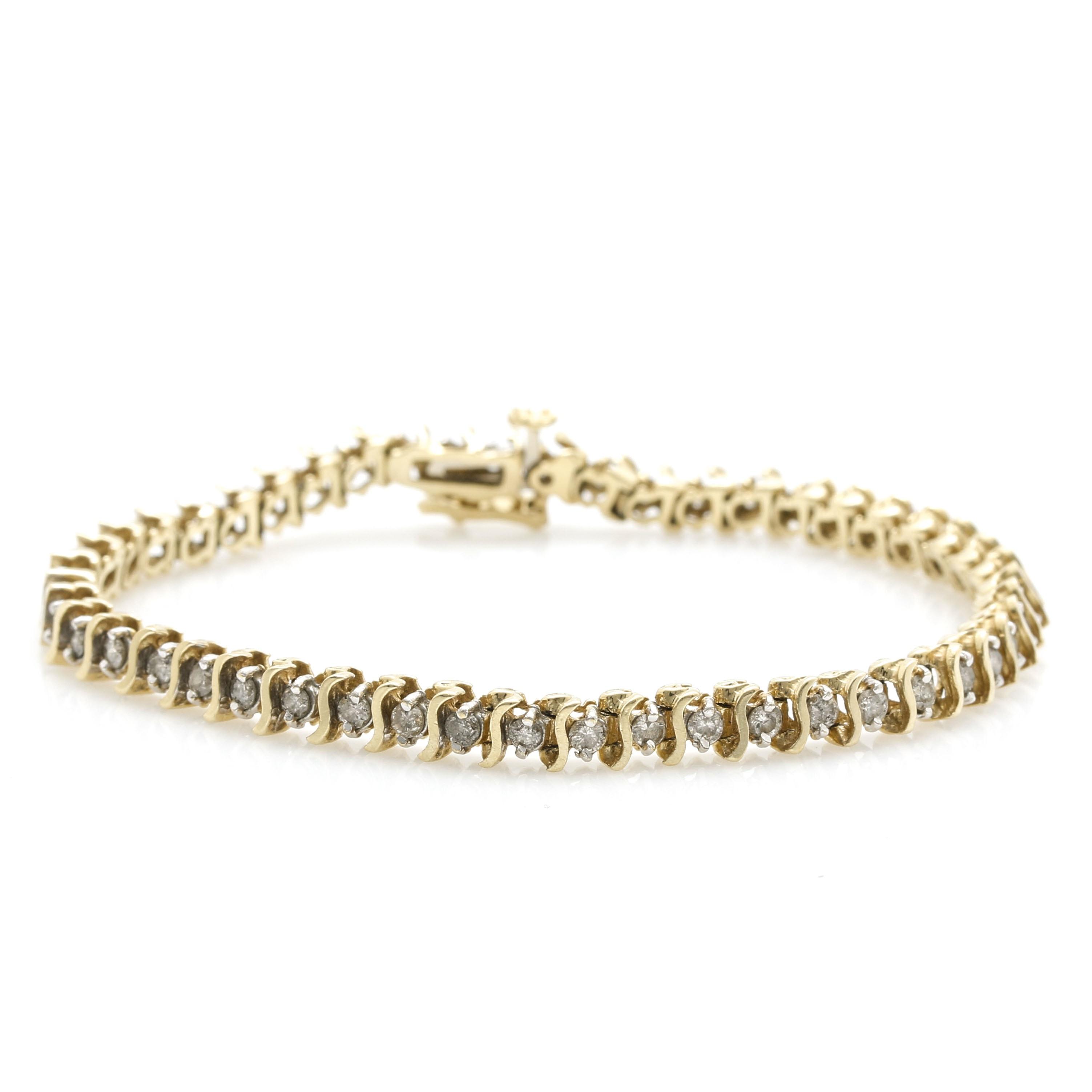 14K Yellow Gold 1.96 CTW Diamond Tennis Bracelet