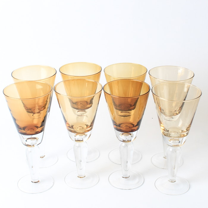 Collection of Amber Glass Stemware