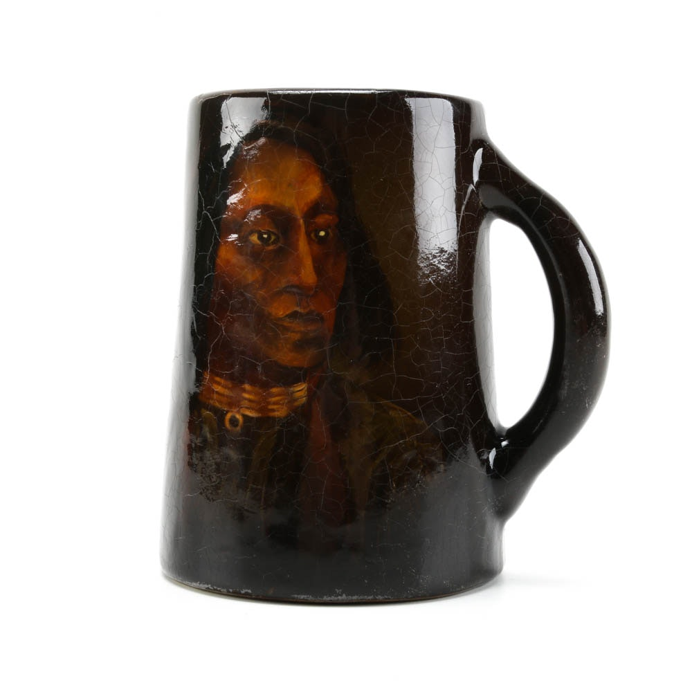 Weller Louwelsa Pottery Stein with Portrait of Native American