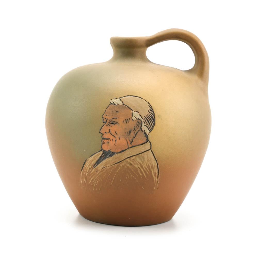 Weller Pottery Dickenware Jug Portrait of a Monk