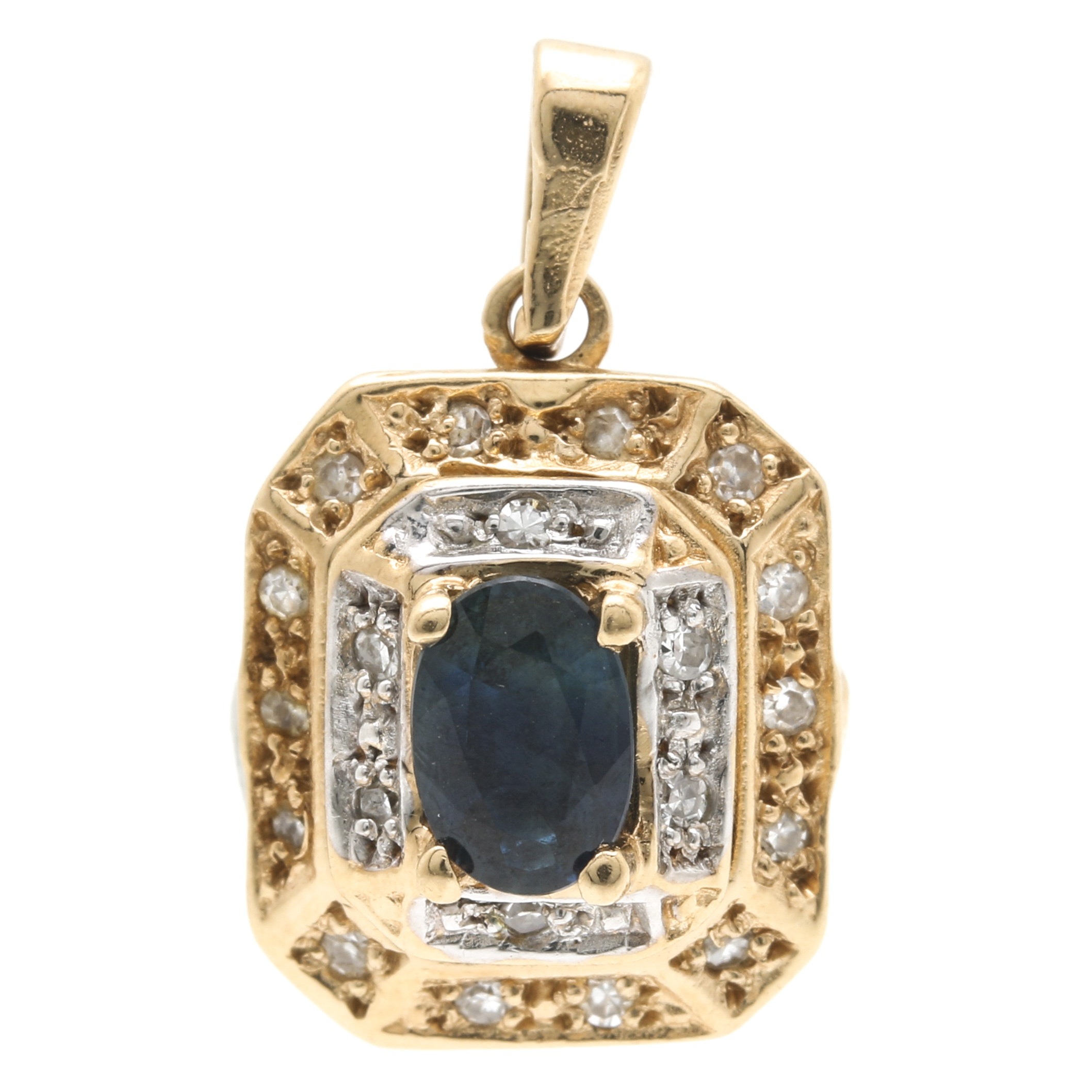 14K Yellow Gold Blue Sapphire and Diamond Pendant