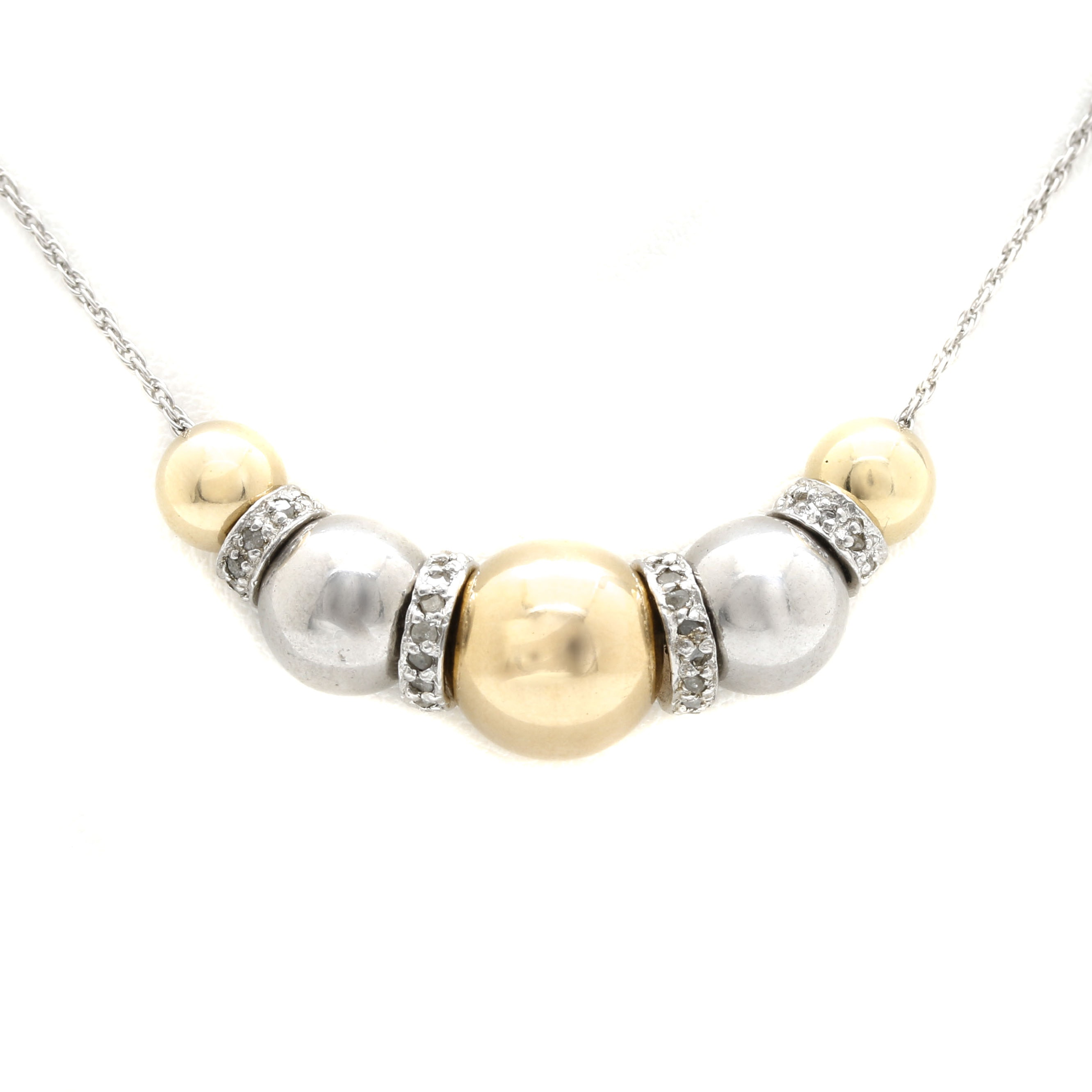 Sterling Silver and 14K Yellow Gold Diamond Necklace
