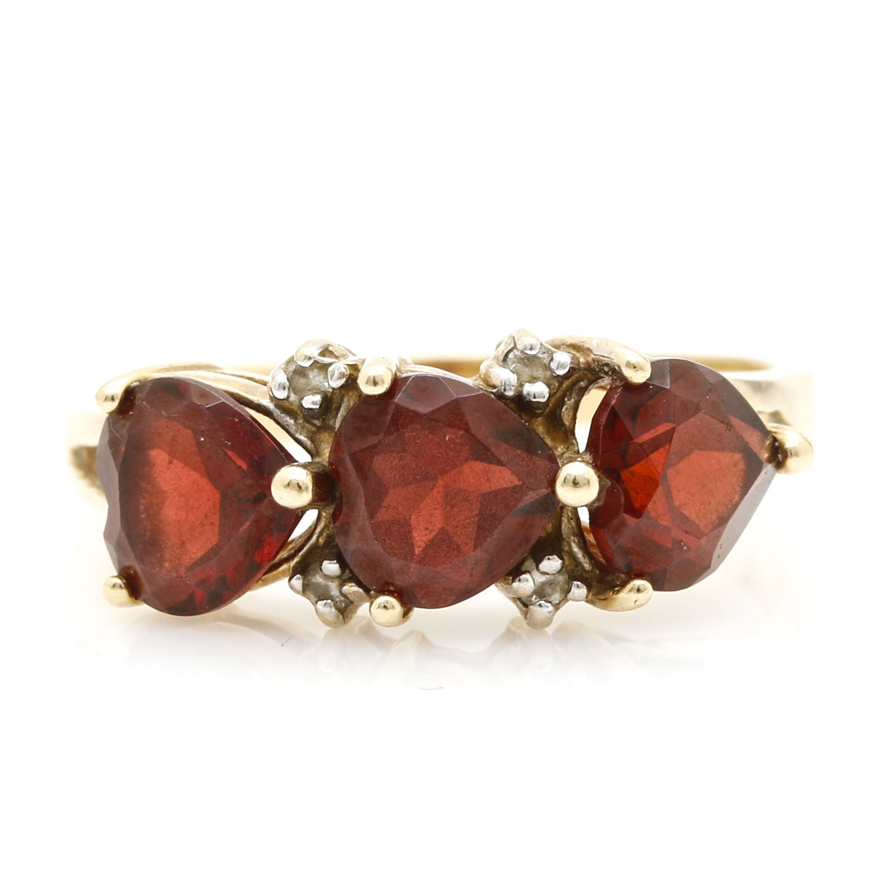14K Yellow Gold Garnet and Diamond Ring