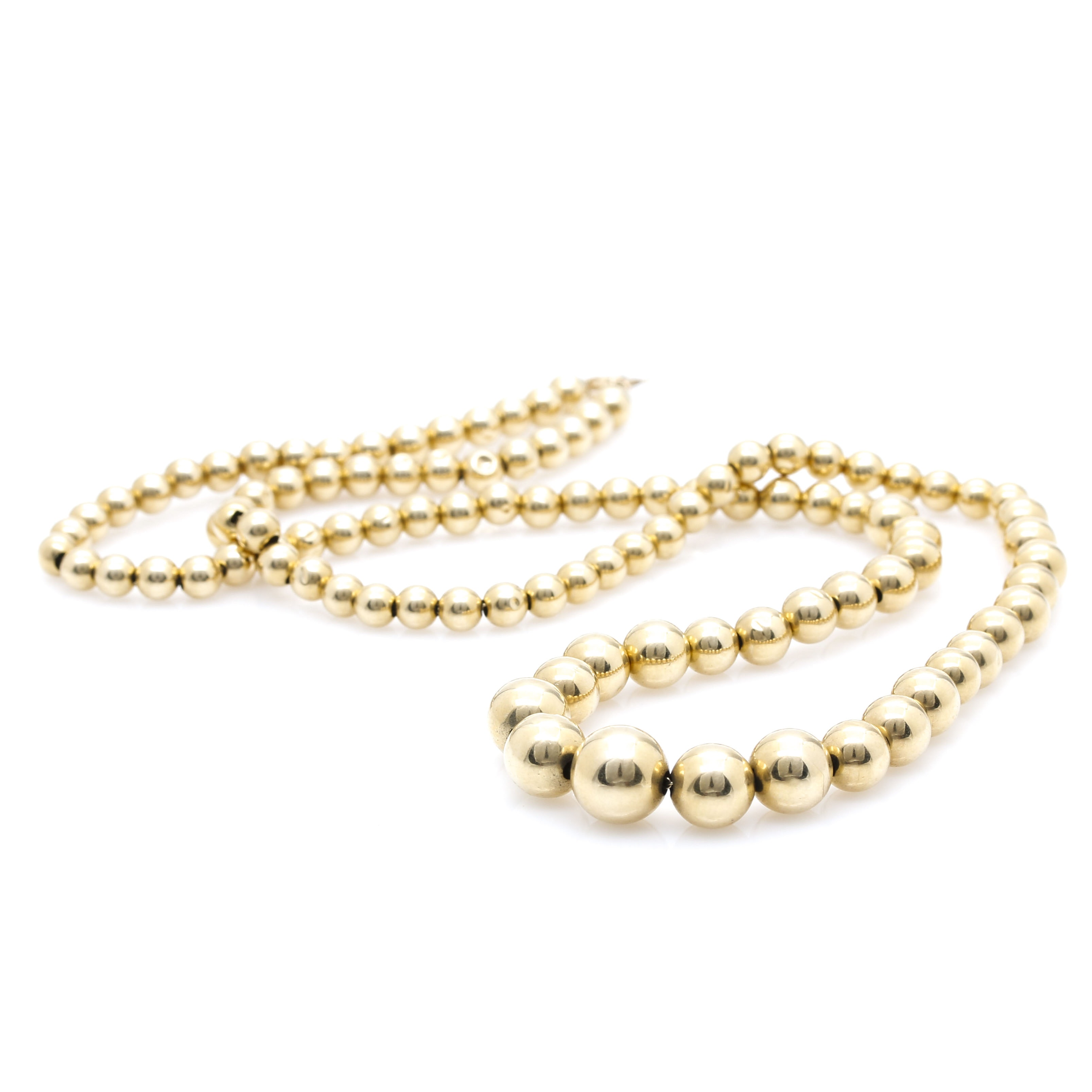 14K Yellow Gold Bead Dot Necklace