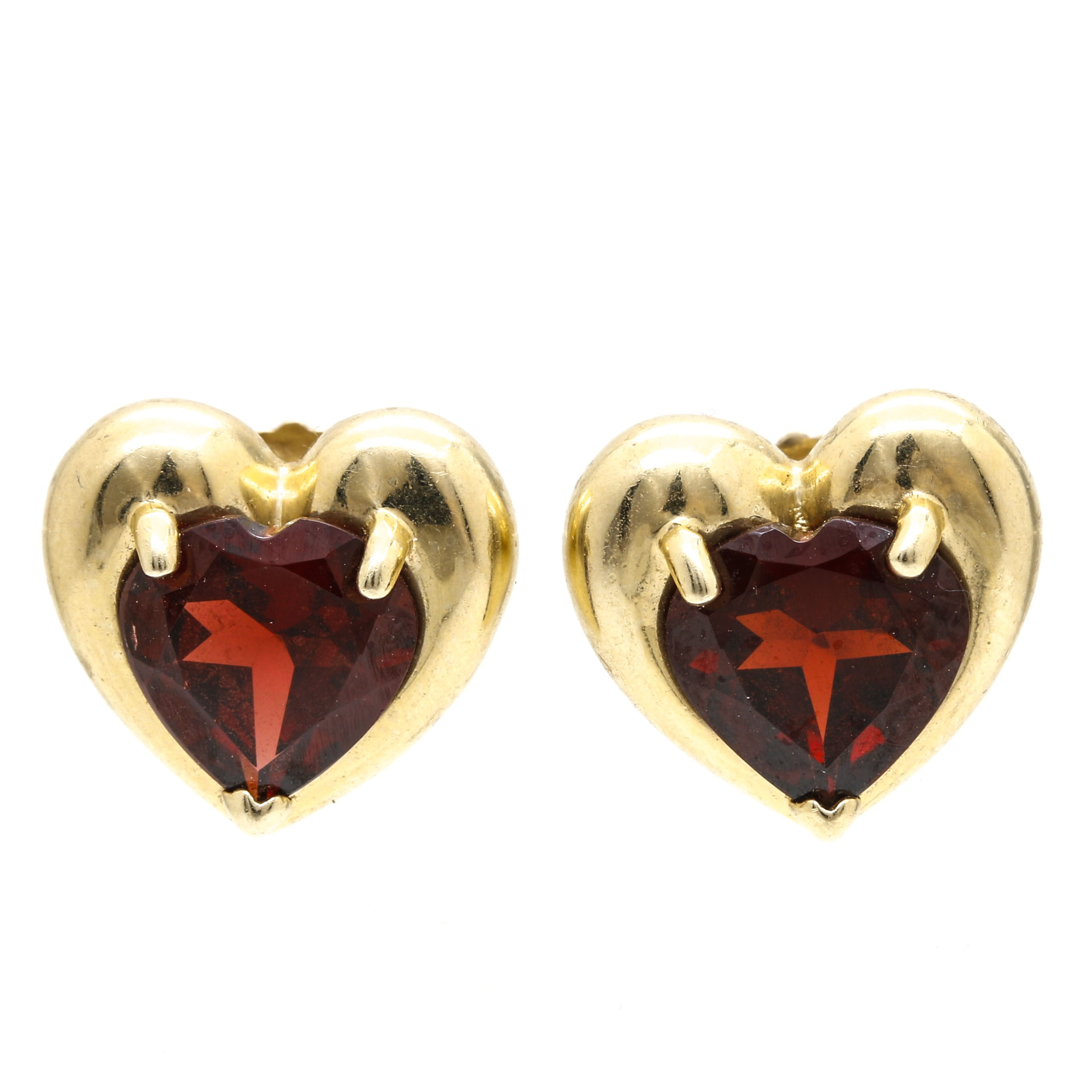 14K Yellow Gold Garnet Heart Earrings