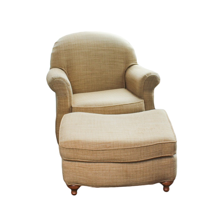 Khaki Tweed Arm Chair and Ottoman