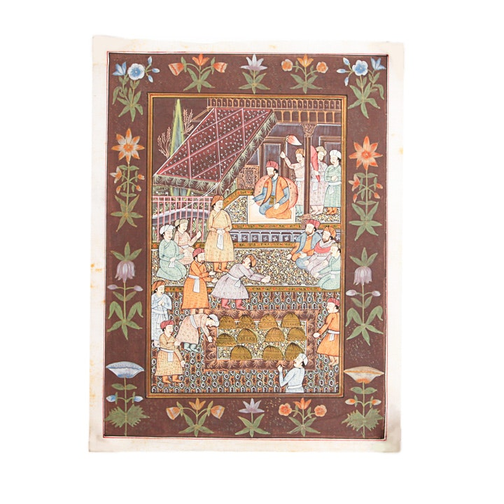 Hand-Painted Indo-Persian Illustration On Linen