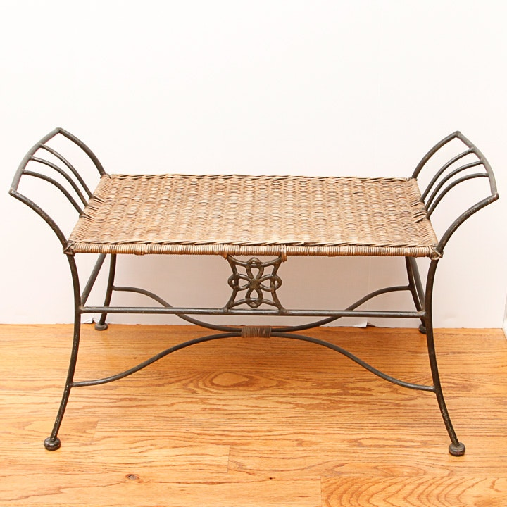 Wrought Iron and Wicker Bench