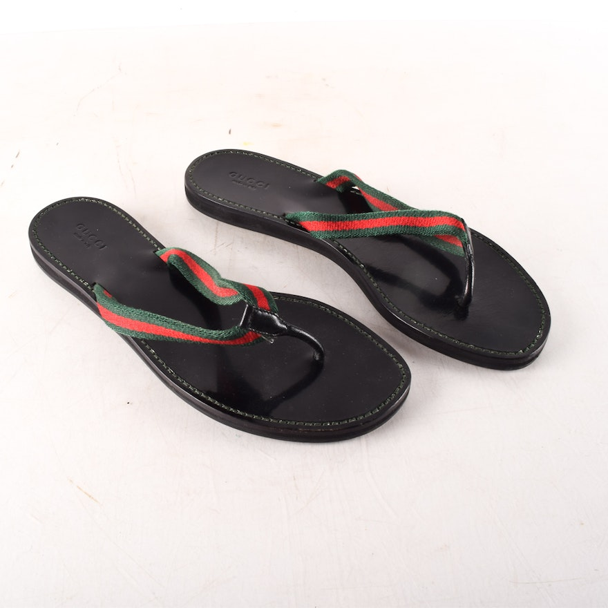091b4178435 Gucci Leather Thong-Style Flip Flops   EBTH