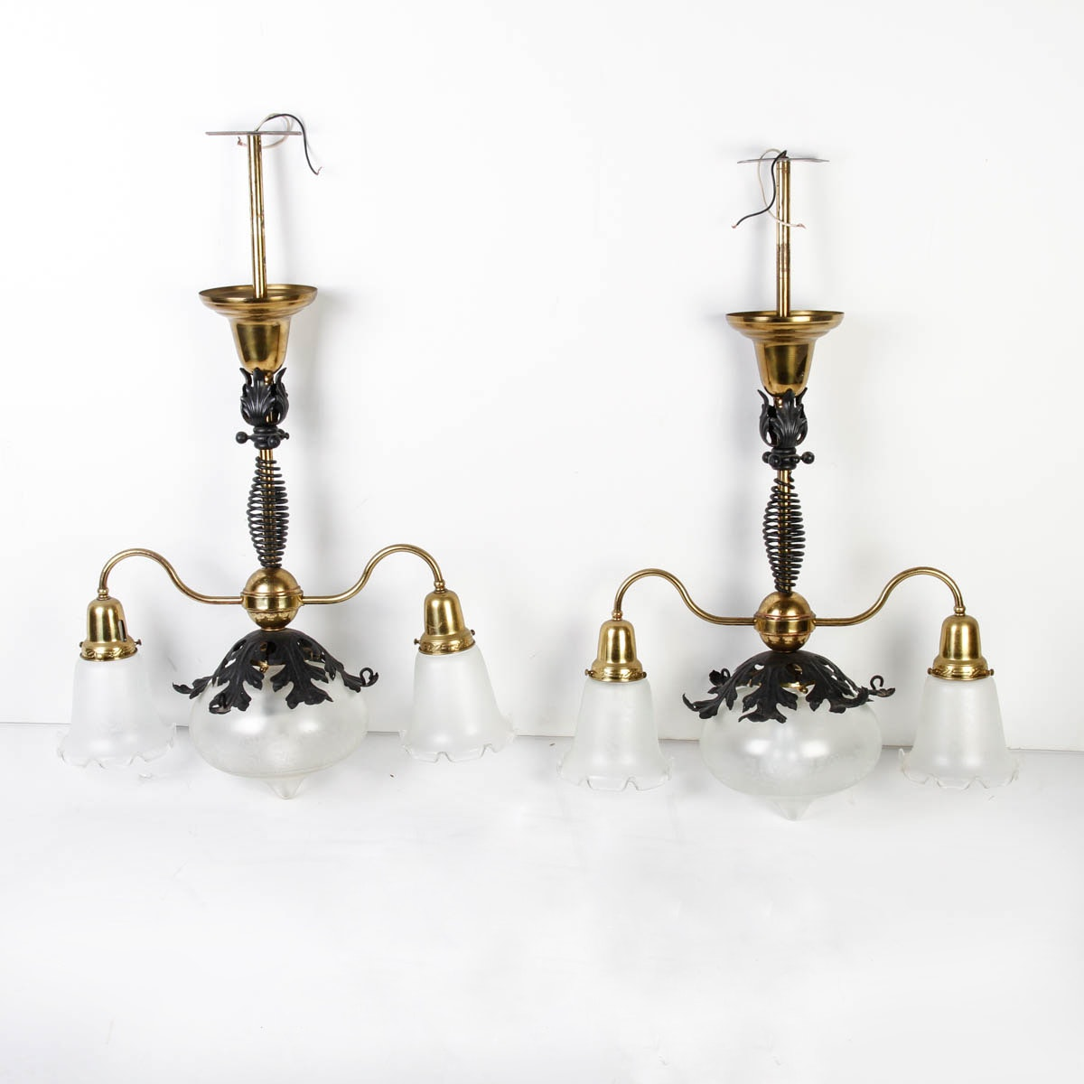 1880s Chandeliers With Frosted Glass Shades