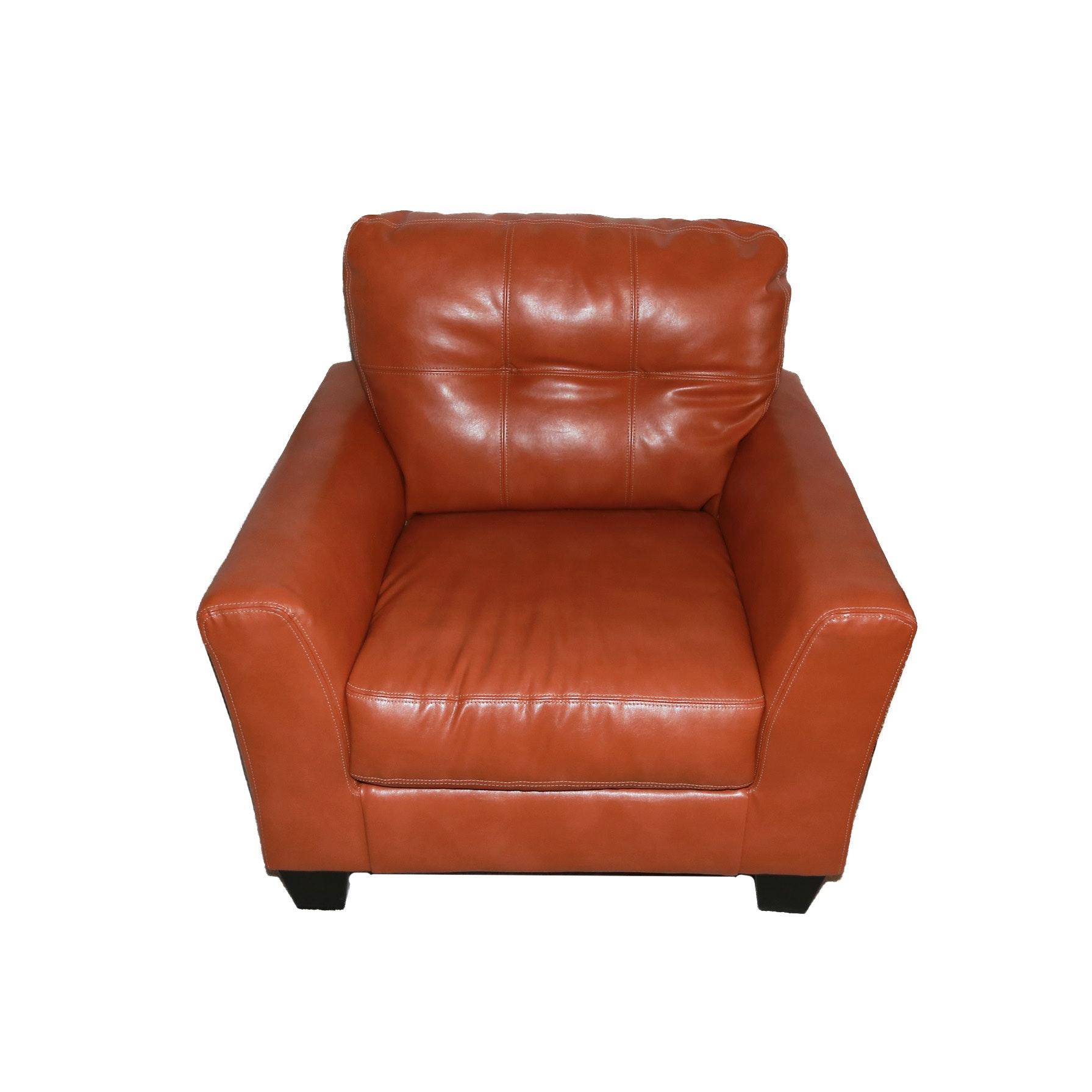 Orange Faux Leather Club Chair