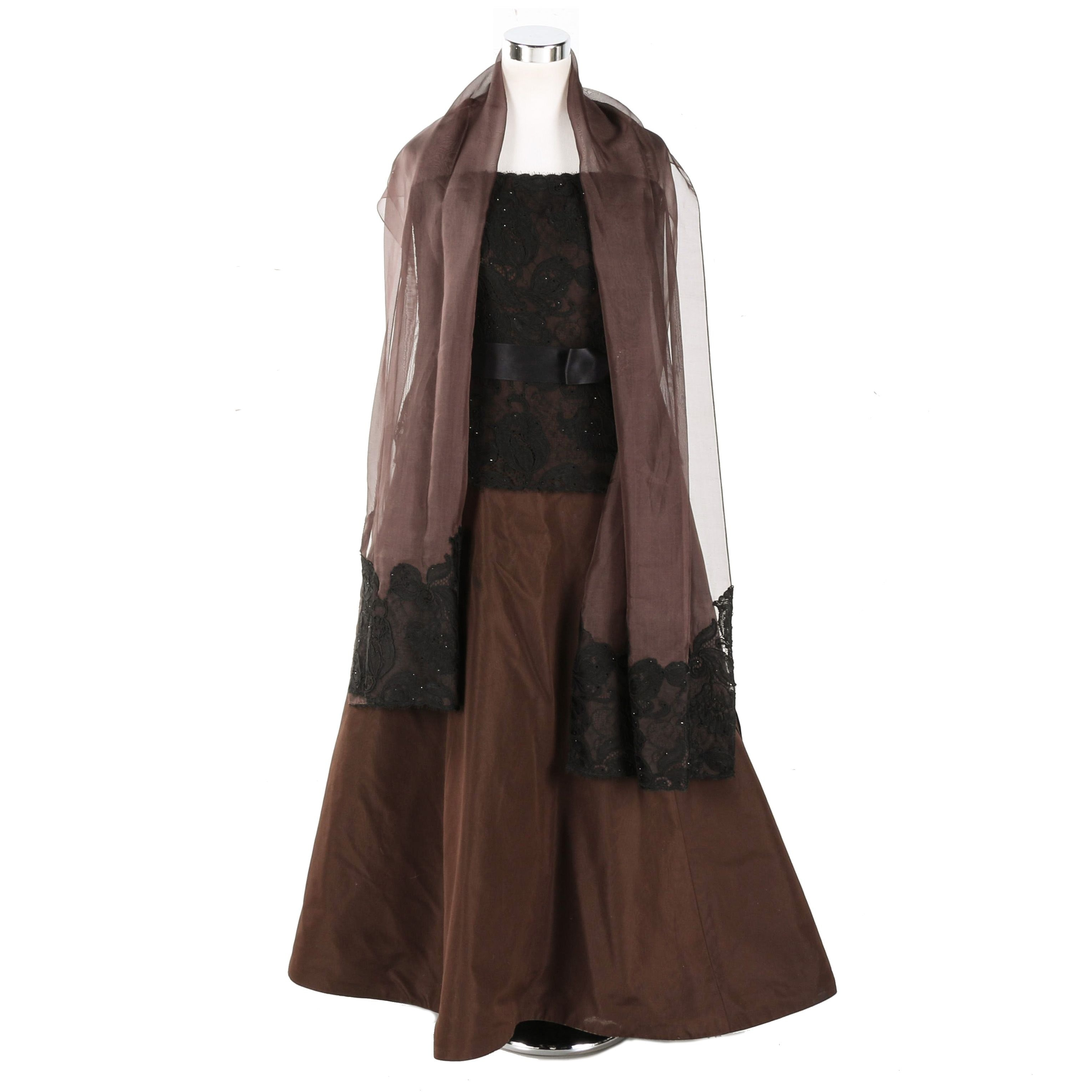 Taffeta Evening Dress and Pashmina