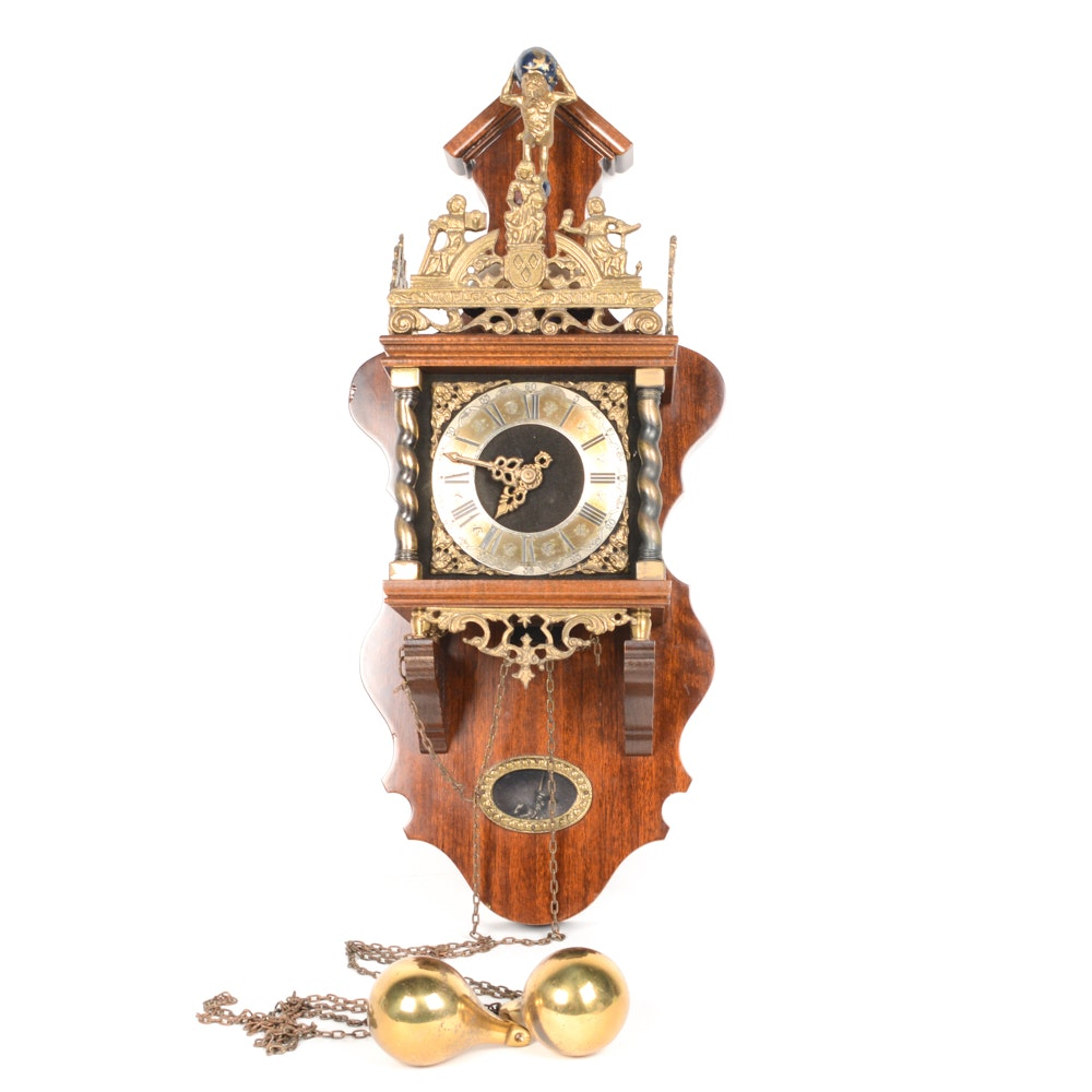 Mahogany and Brass Wall Clock