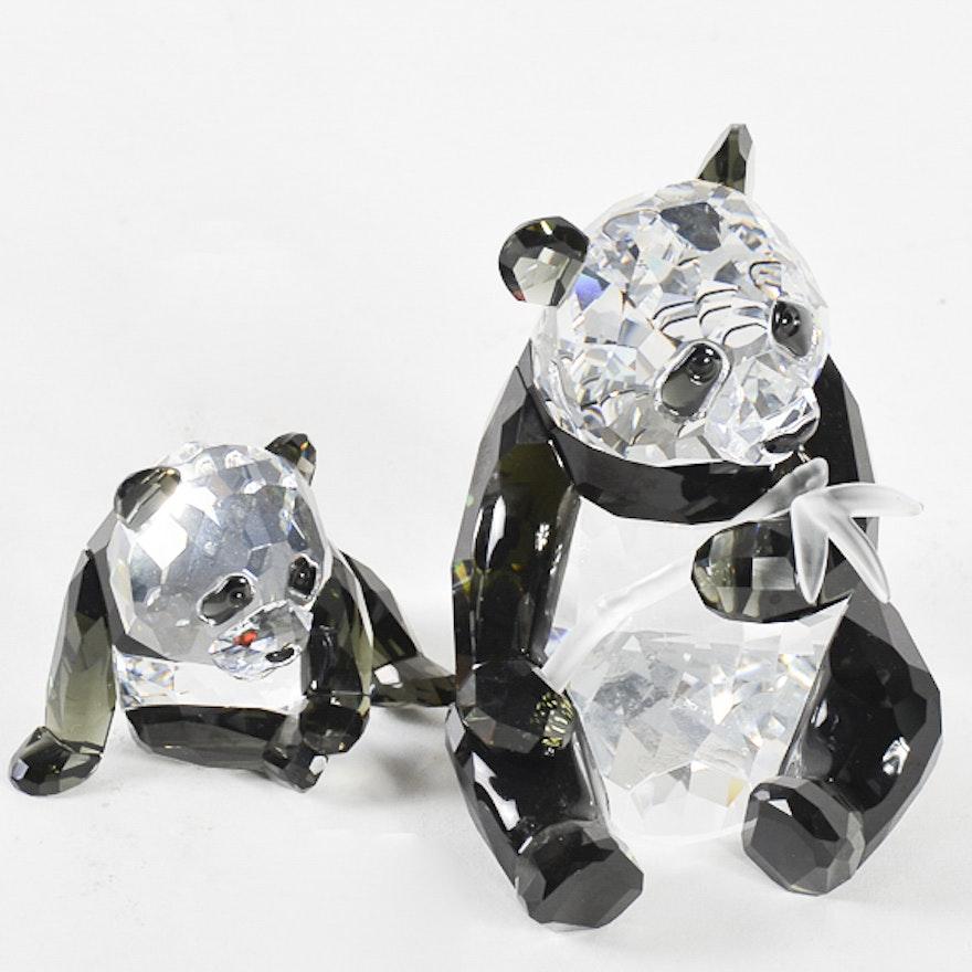 db8d630f8 Pair of Swarovski Crystal Panda Figurines : EBTH