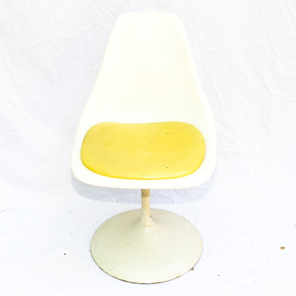 Vintage White And Yellow Tulip Chair By Contemporary Shells ...