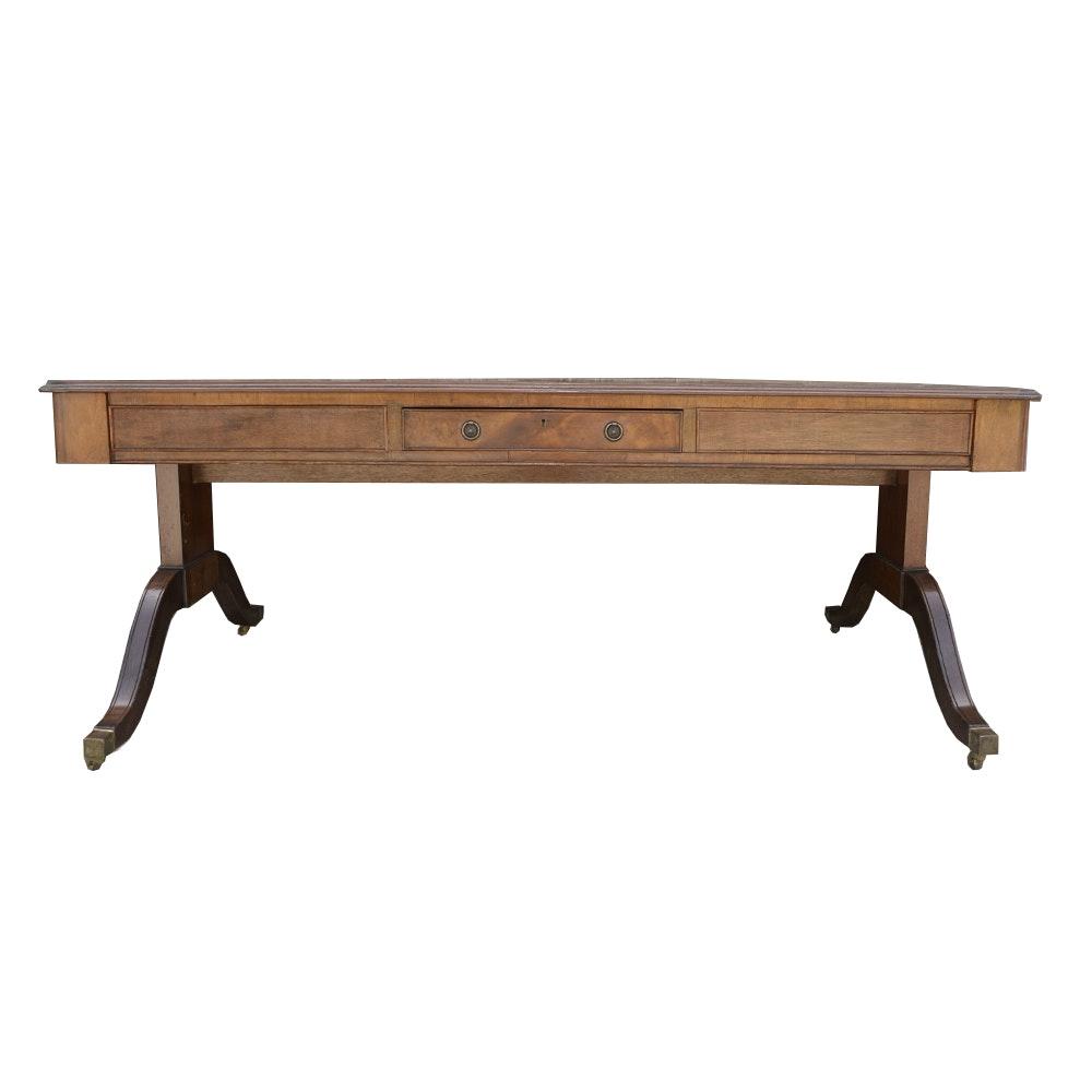 Antique Duncan Phyfe Style Mahogany Veneer Dual Sided Desk