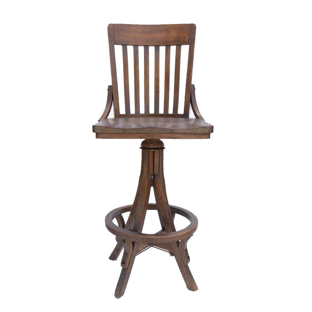 Vintage Oak Swivel Stool