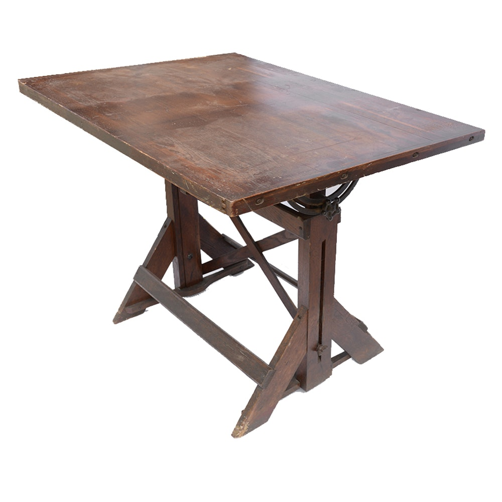 Vintage Oak Drafting Table